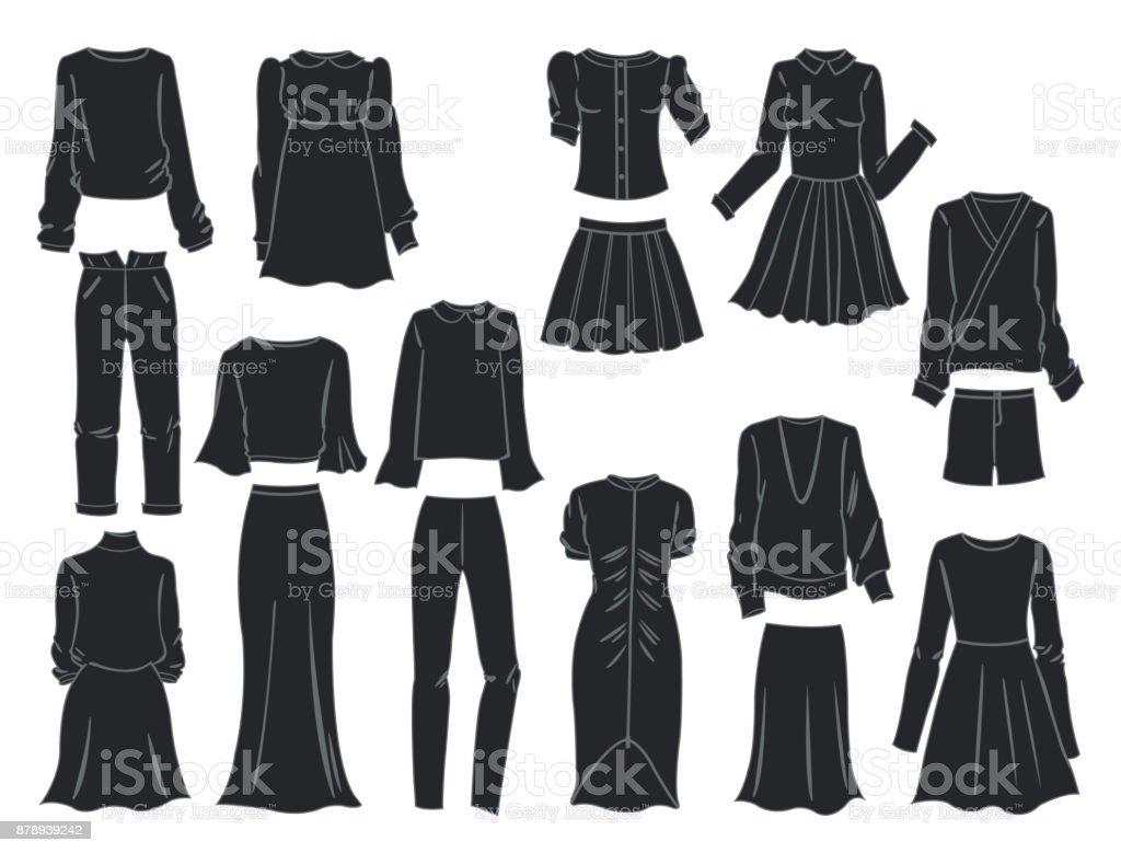 Silhouetten von Damenkleidung – Vektorgrafik