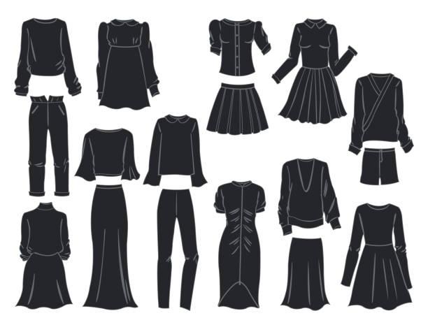silhouetten von damenkleidung - damenmode stock-grafiken, -clipart, -cartoons und -symbole