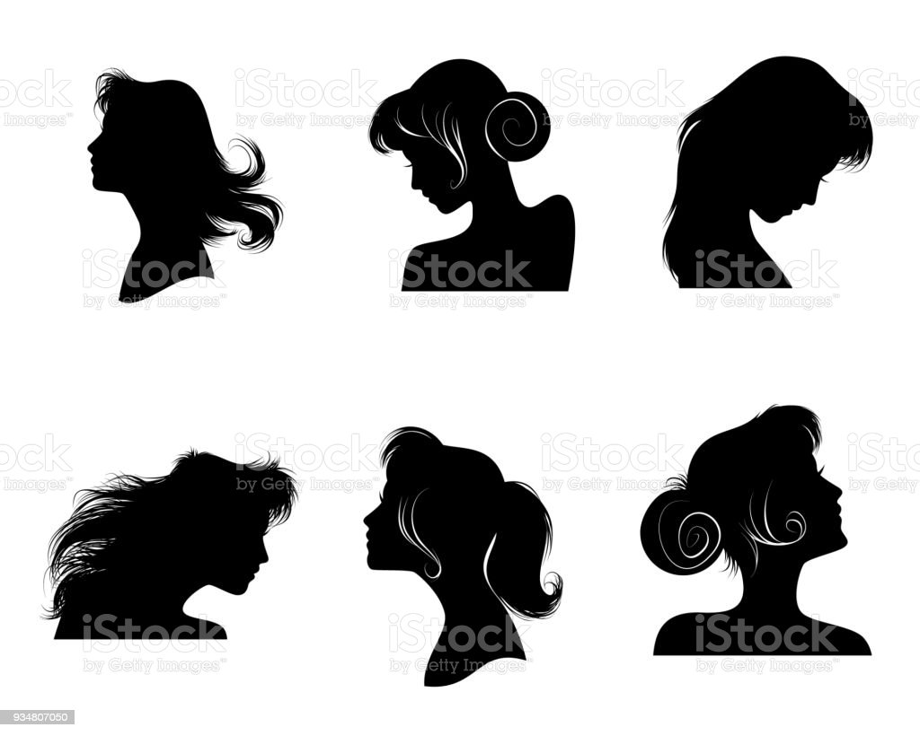 Silhouettes of women's hairstyles vector art illustration