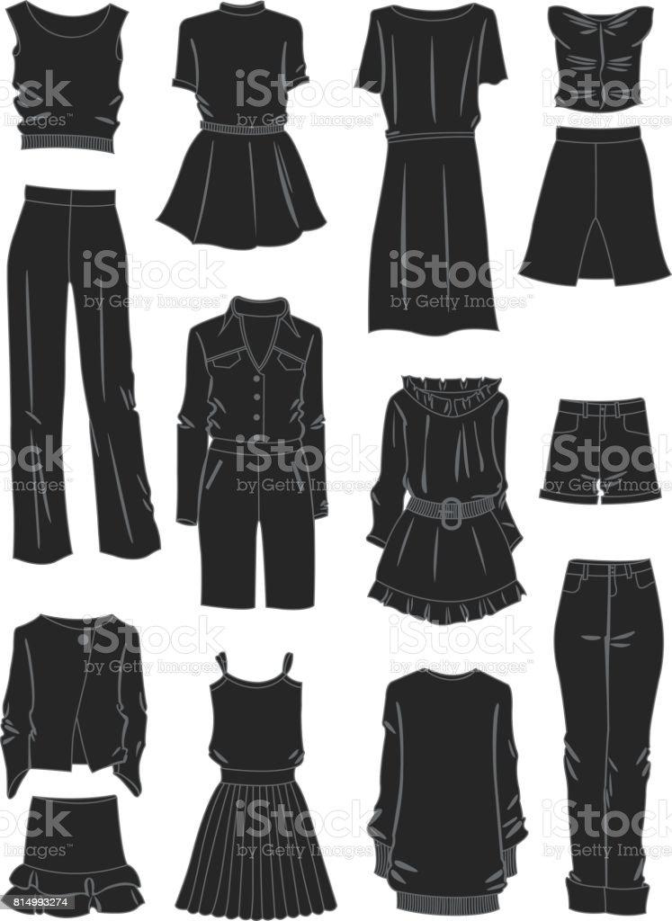 Siluetas de ropa holgada de las mujeres - ilustración de arte vectorial