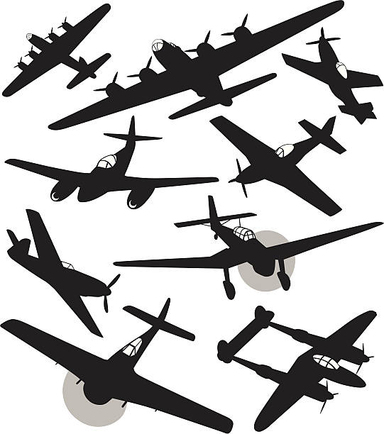 Silhouettes of World War 2 fighters and bombers Silhouettes of US and german fighters and bombers from WW2. bomber plane stock illustrations