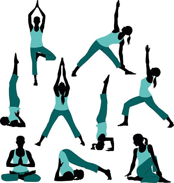 bildbanksillustrationer, clip art samt tecknat material och ikoner med silhouettes of yoga postures - korslagda ben