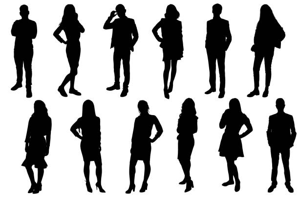 Silhouettes of young people. Girls and boys in full growth. Black silhouette on a white background, contour-2 Silhouettes of young people. Girls and boys in full growth. Black silhouette on a white background, outline drawing business silhouettes stock illustrations