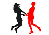 Silhouettes  of  young slender skinny girls who have fun jumping up holding hands