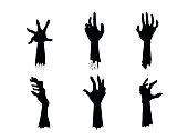 Silhouettes of Zombie Hands in different action set.