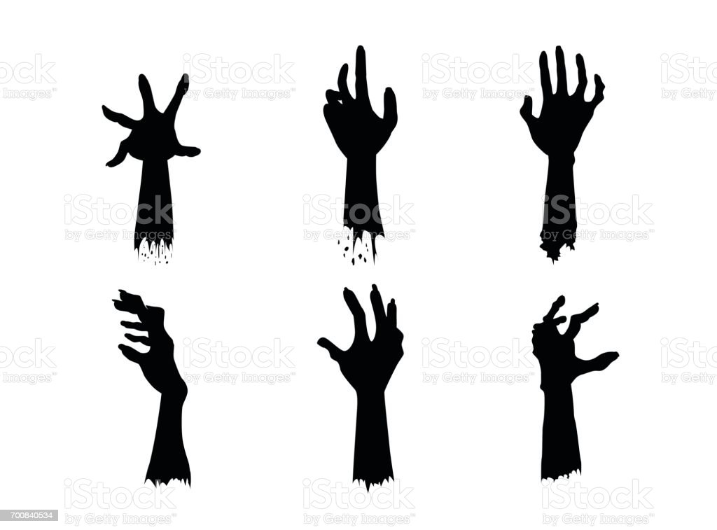 Silhouettes of Zombie Hands in different action set. vector art illustration