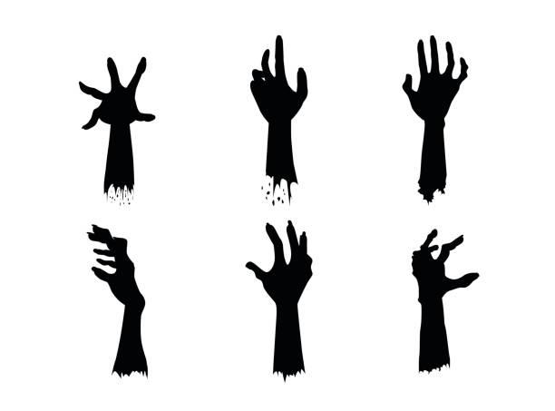 bildbanksillustrationer, clip art samt tecknat material och ikoner med siluetter av zombie händer i olika åtgärder set. - grav