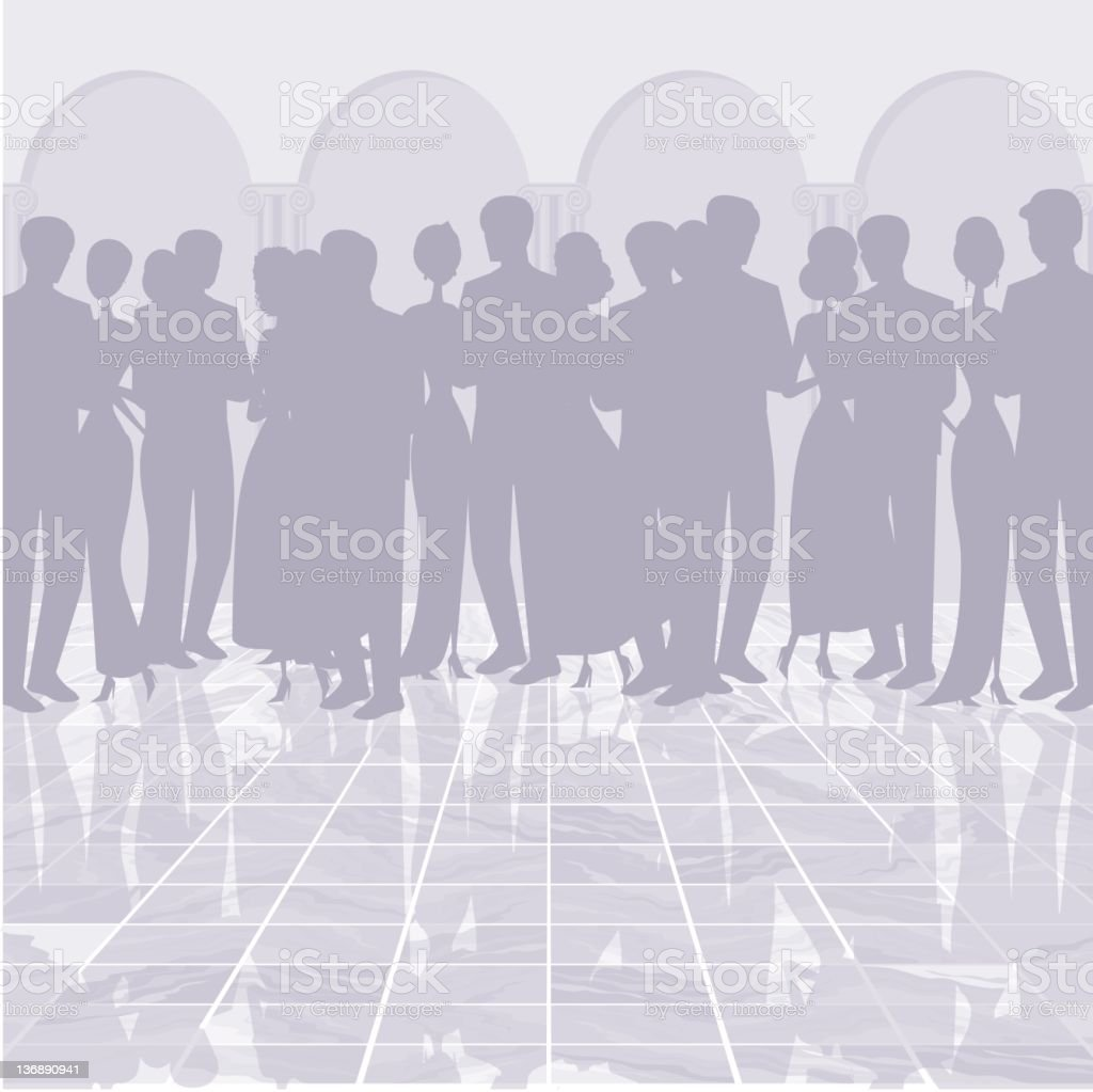 Silhouettes on a Dance Floor royalty-free stock vector art