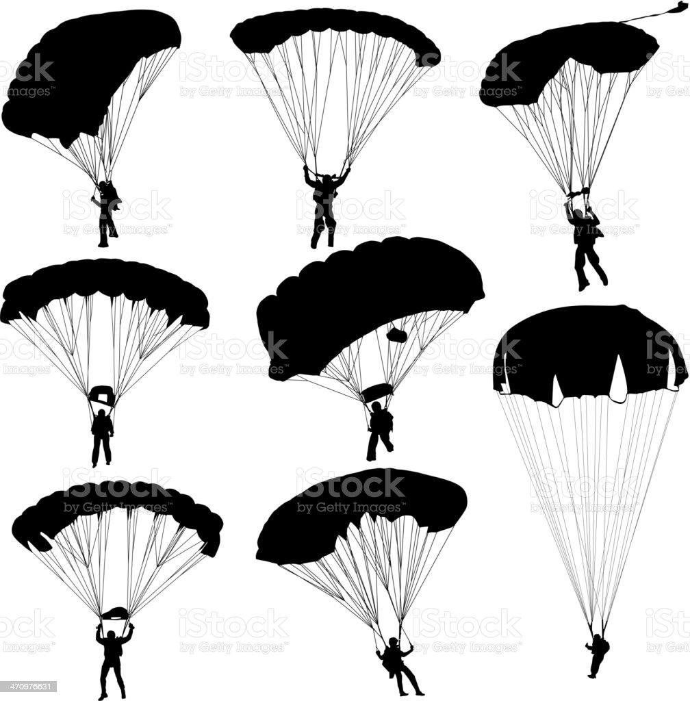 silhouettes parachuting vector art illustration