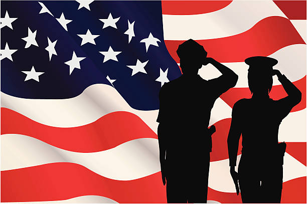 Silhouettes saluting the American flag vector art illustration