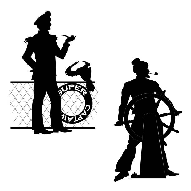 silhouettes sea captain - old man smoking pipe cartoons stock illustrations, clip art, cartoons, & icons