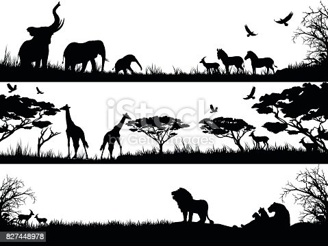 Silhouettes set of African wild animals in nature habitats.