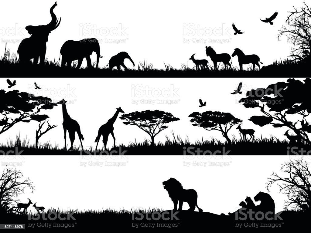 Silhouettes set of African wild animals in nature habitats - illustrazione arte vettoriale
