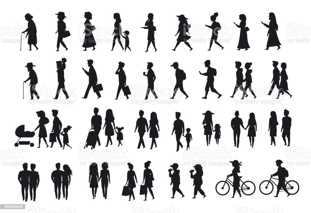 silhouettes set of people walking.family couples,parents, man and woman different age generation walk with bikes,smartphones, coffee,eat,texting,talking, side back and front views silhouettes set of people walkingfamily couplesparents man and woman different age generation walk with bikessmartphones coffeeeattextingtalking side back and front views - immagini vettoriali stock e altre immagini di adulto royalty-free