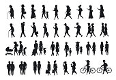silhouettes set of people walking.family couples,parents, man and woman different age generation walk with bikes,smartphones, coffee,eat,texting,talking, side back and front views isolated vector illustration scene