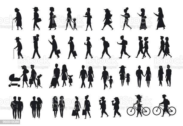 Silhouettes set of people walkingfamily couplesparents man and woman vector id995949086?b=1&k=6&m=995949086&s=612x612&h=62czsportfhqubavffpf20w1fqyrgwo9a4h2izvz2fo=