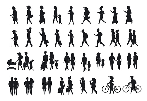 People silhouette stock illustrations