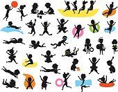 silhouettes set of summer time children on the beach swimming diving jumping playing ball, making of sand castle, snorkeling, sliding on tubes, floating on inflatable mattress and rings, running, riding banana boat