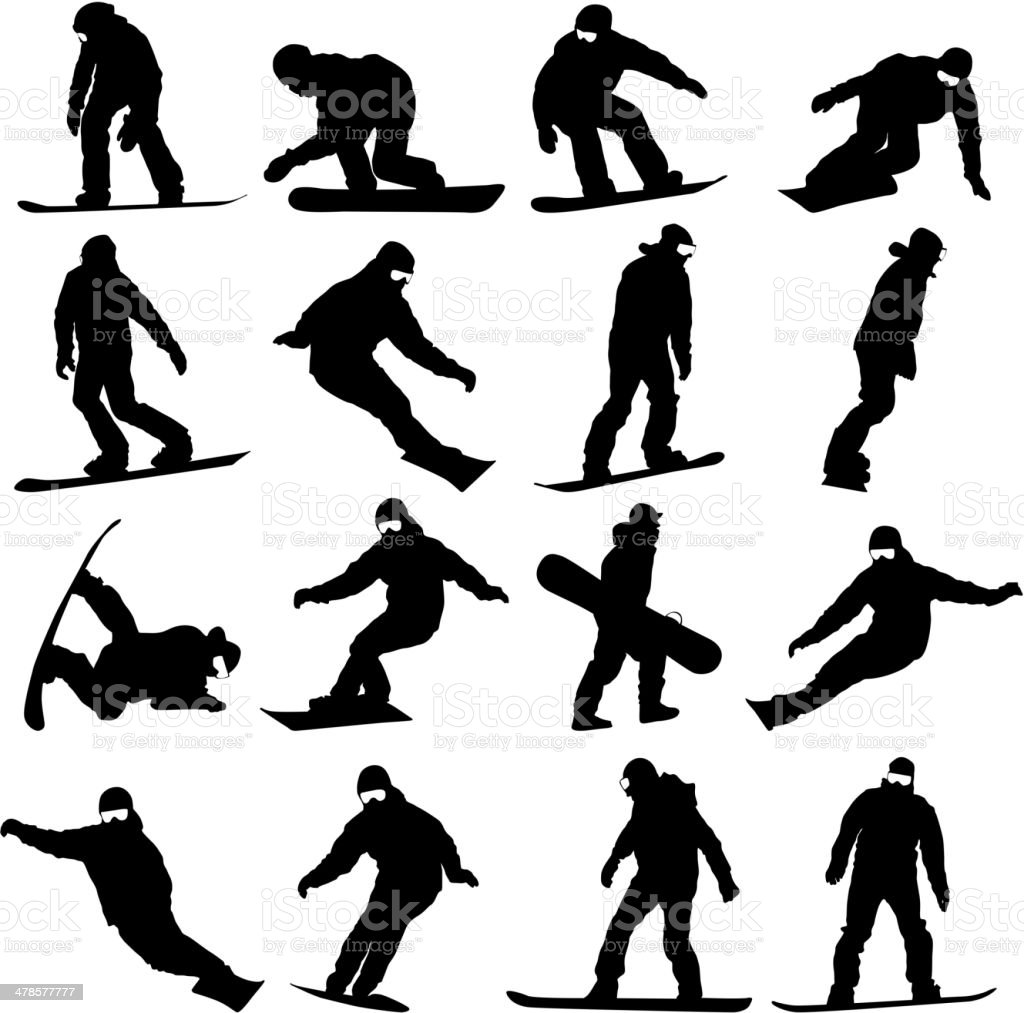 silhouettes set snowboarders vector art illustration