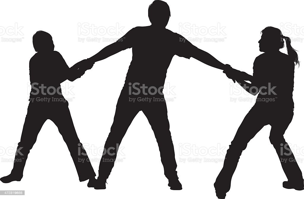 Silhouettes sibling pulling their father vector art illustration