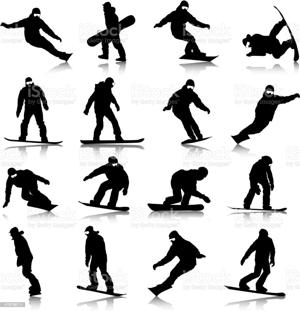 silhouettes snowboarders vector art illustration