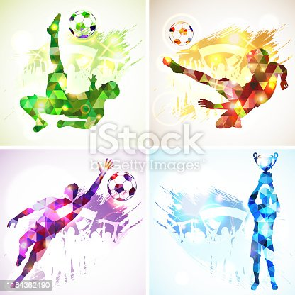 istock Silhouettes soccer football players 1184362490