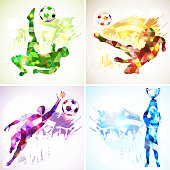 bright rainbow silhouette soccer football players, goalkeeper, champion with cup, fans on grunge background. modern poligonal pattern. vector illustration