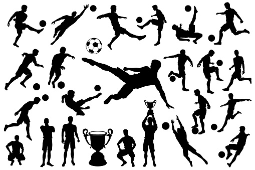 Silhouettes soccer player with ball and trophy cup