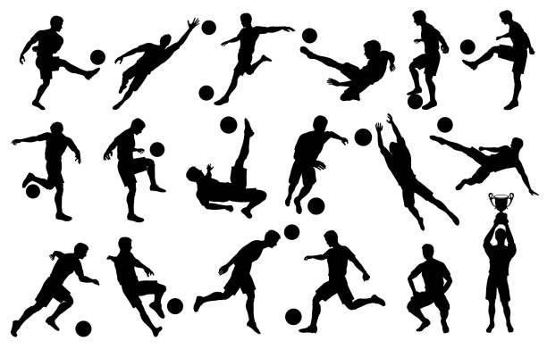 bildbanksillustrationer, clip art samt tecknat material och ikoner med silhuetter fotbollspelare i olika poser - soccer