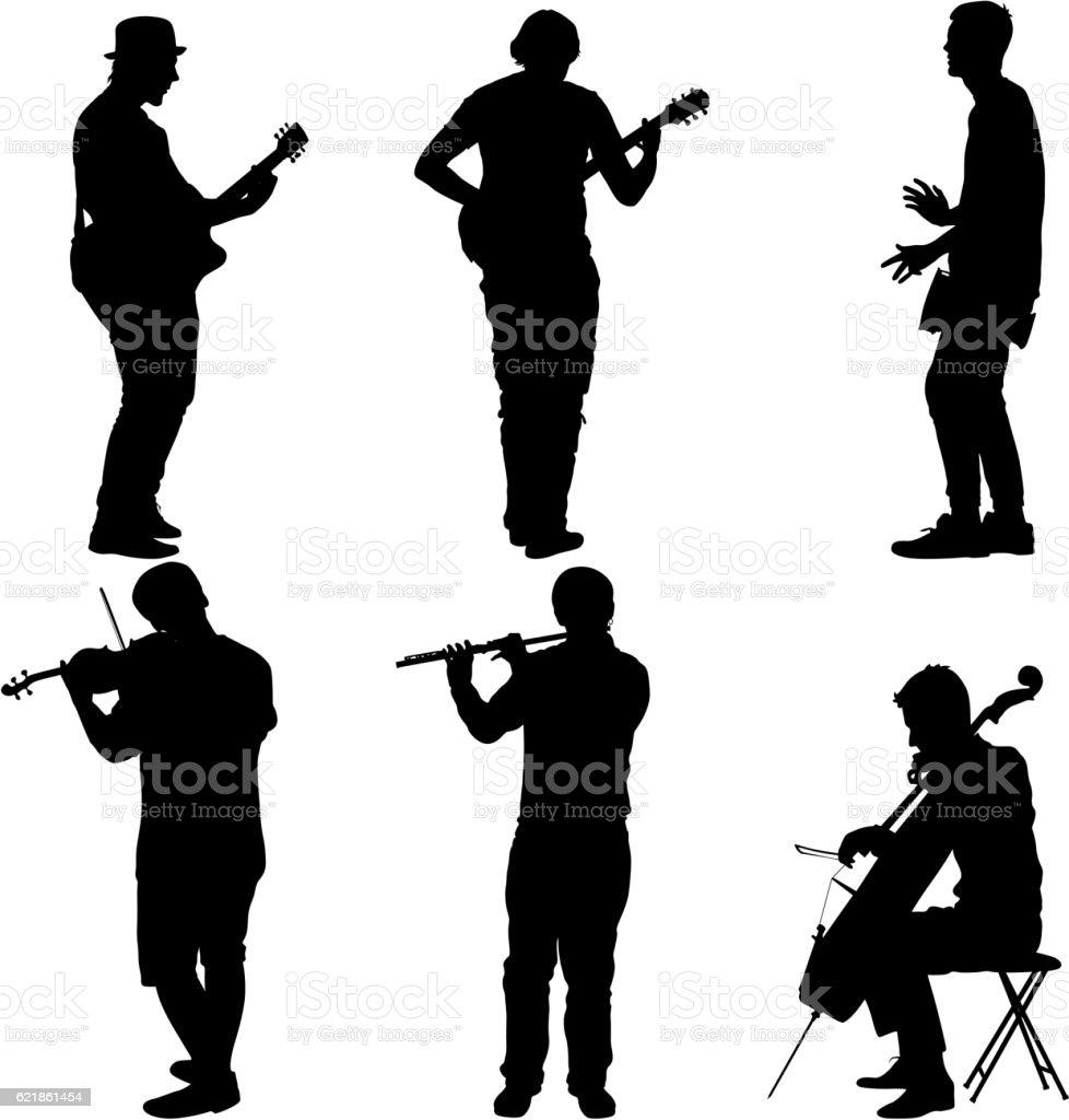 Silhouettes street musicians playing instruments. Vector illustration vector art illustration