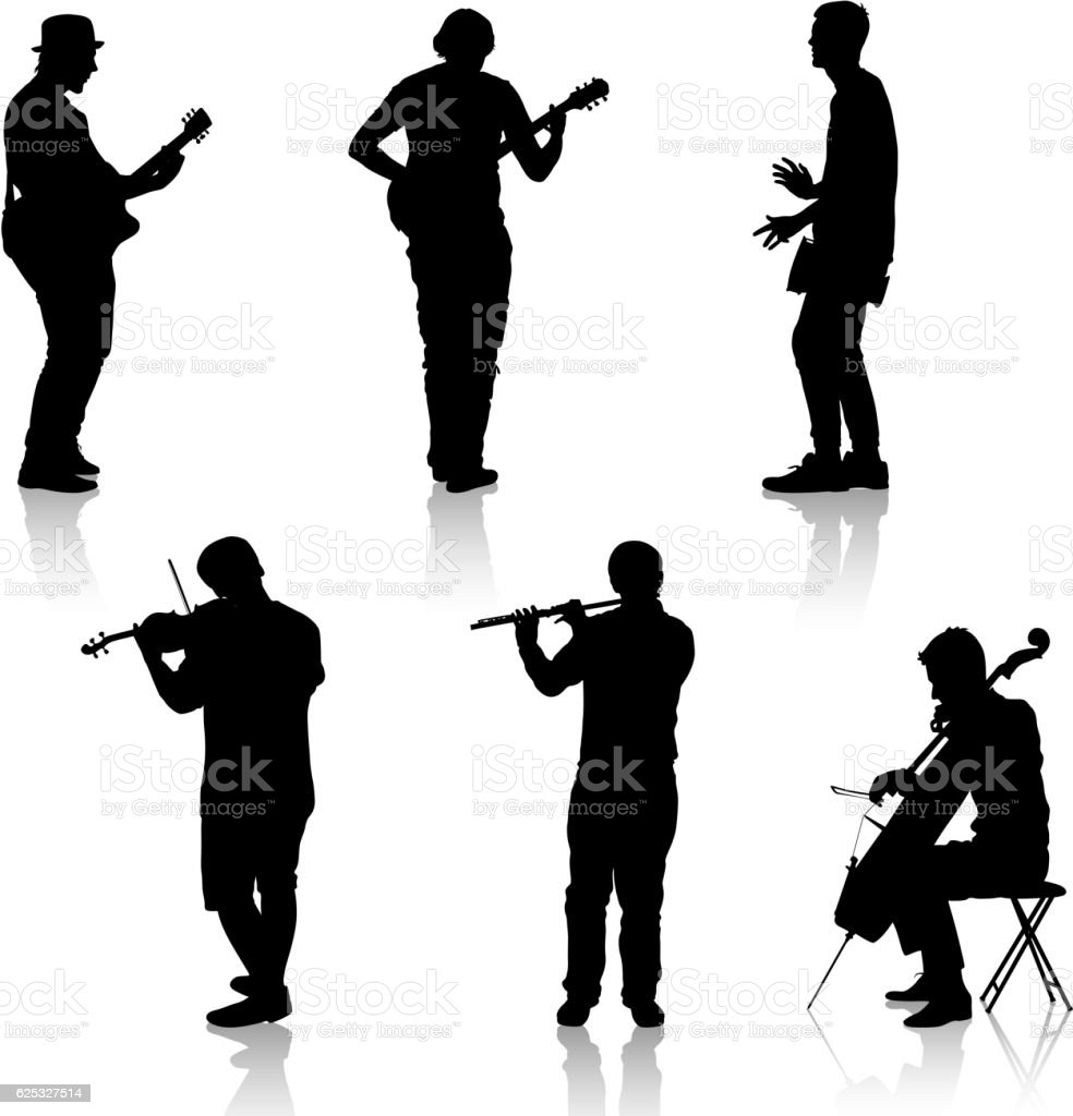 Silhouettes street musicians playing instruments. Vector illustration vector art illustration
