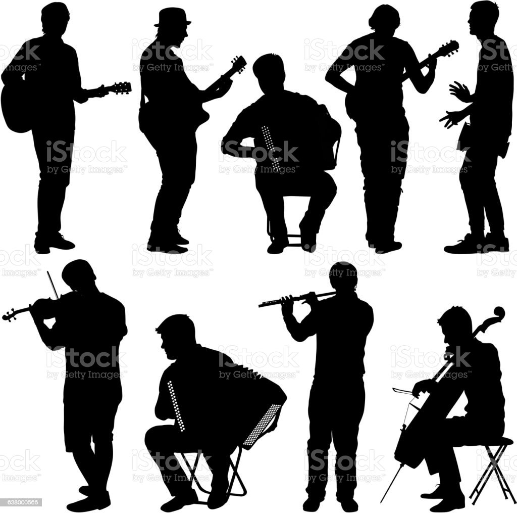 Silhouettes street musicians playing instruments. Vector illustration - ilustración de arte vectorial