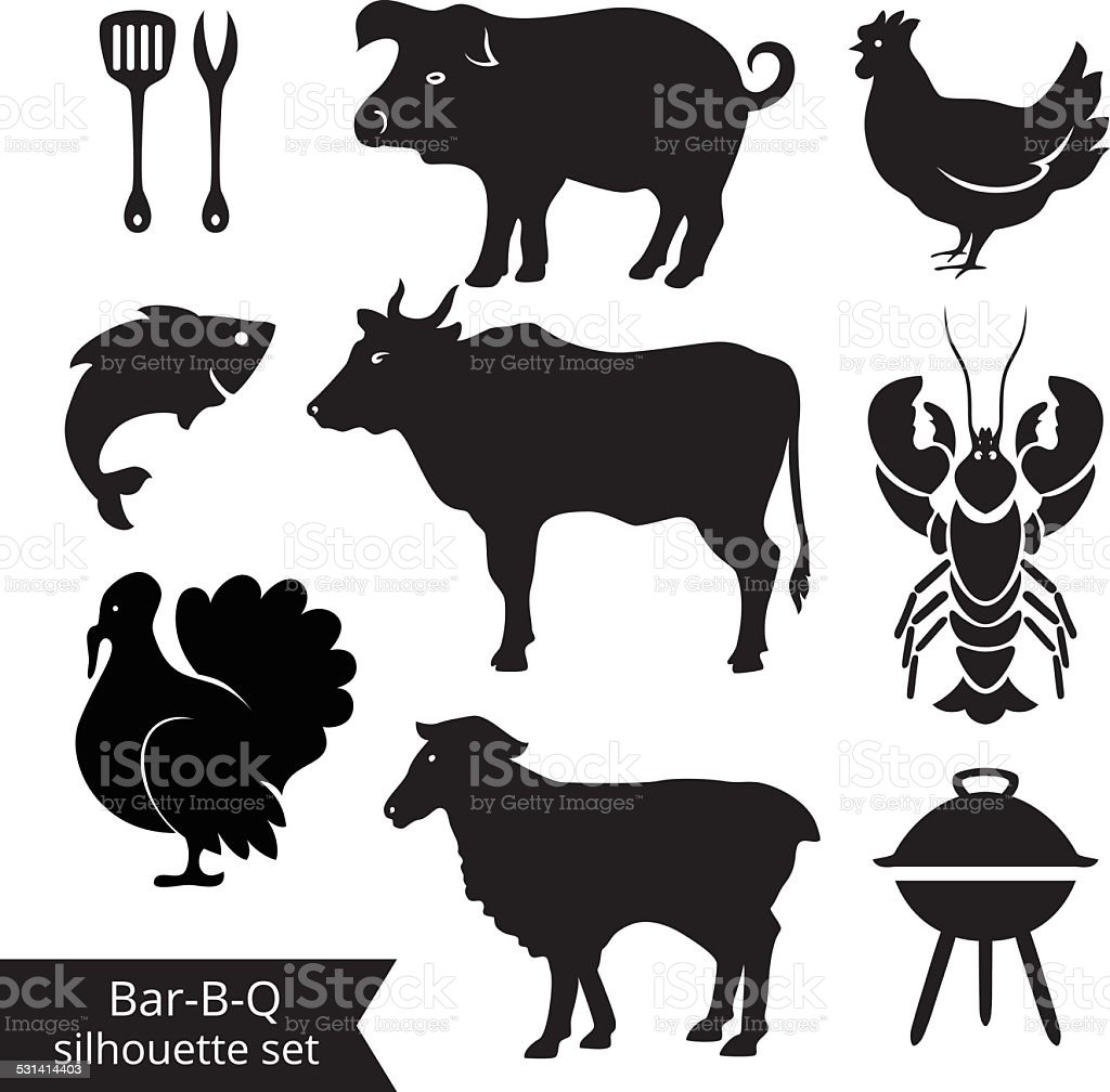 BBQ silhouettes vector art illustration
