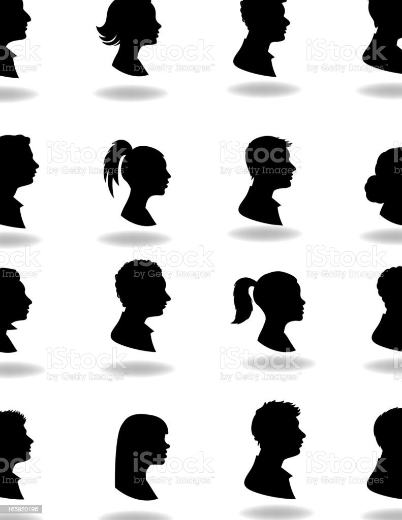 16 silhouettes with shadows on white background  vector art illustration