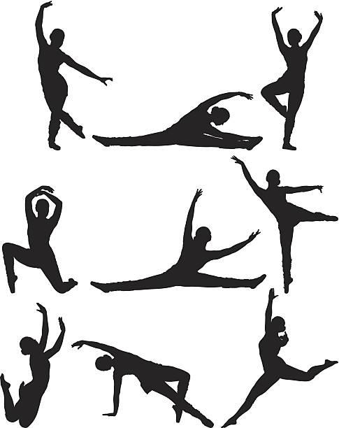 silhoutte einer frau tanz - spagat stock-grafiken, -clipart, -cartoons und -symbole