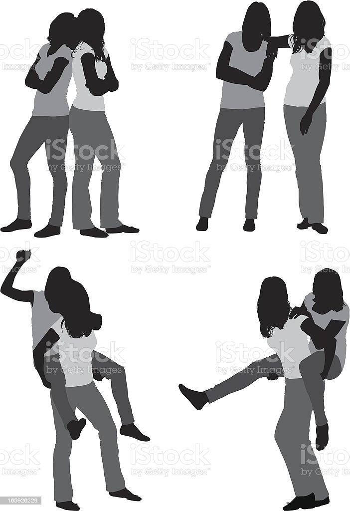 Silhoutte of female friends posing vector art illustration