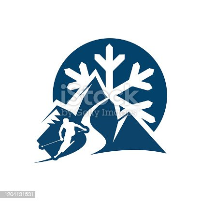 istock silhoutte of ice mountain and skiing person for ski logo vector design 1204131531