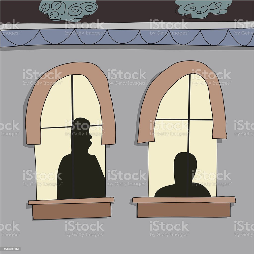 Silhoutte of People in Windows vector art illustration