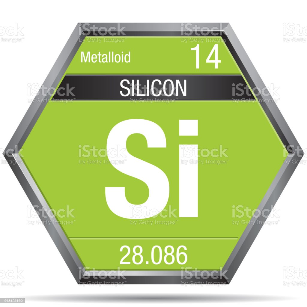 Silicon Symbol In The Form Of A Hexagon With A Metallic Frame