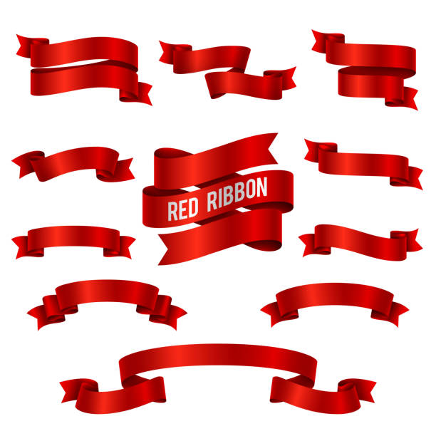 silk red 3d ribbon banners vector set isolated - ribbon sewing item stock illustrations