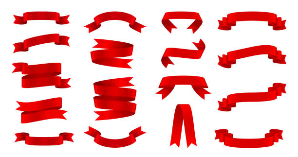 stockillustraties, clipart, cartoons en iconen met zijde rood linten set, decoratieve design element - rood