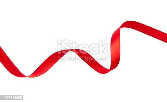 Silk red wavy ribbon isolated on white background vector realistic illustration. Holiday decoration element. New Year, Christmas, X-mas, anniversary holidays concept