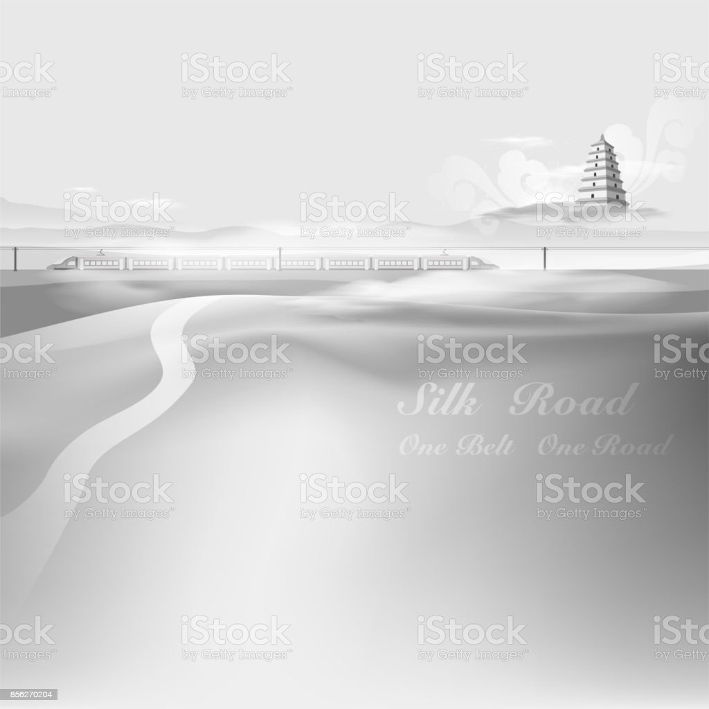 Silk Road To China,One Belt One Road vector art illustration