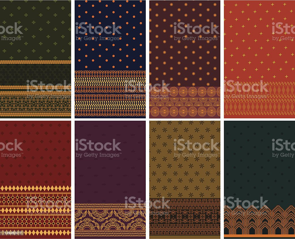 Silk Sari Borders royalty-free stock vector art