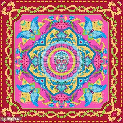 istock Silk scarf design 1312092064