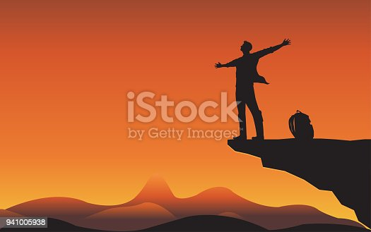 Sillhouette man on mountain cliff, Man of freedom, People of nature concept. Illustration vector flat