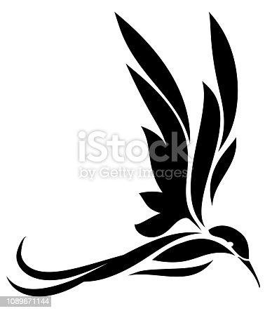 Sillhouette of bird, hummingbird illustration isolated on white background