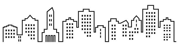 Sillhouette of town, group of houses with windows Sillhouette of town, group of houses with windows. Black and white icon. Vector icon. Lots of high-rise houses. community drawings stock illustrations