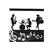Music festival scena. The musical band cartoon silhouette play instrumental.