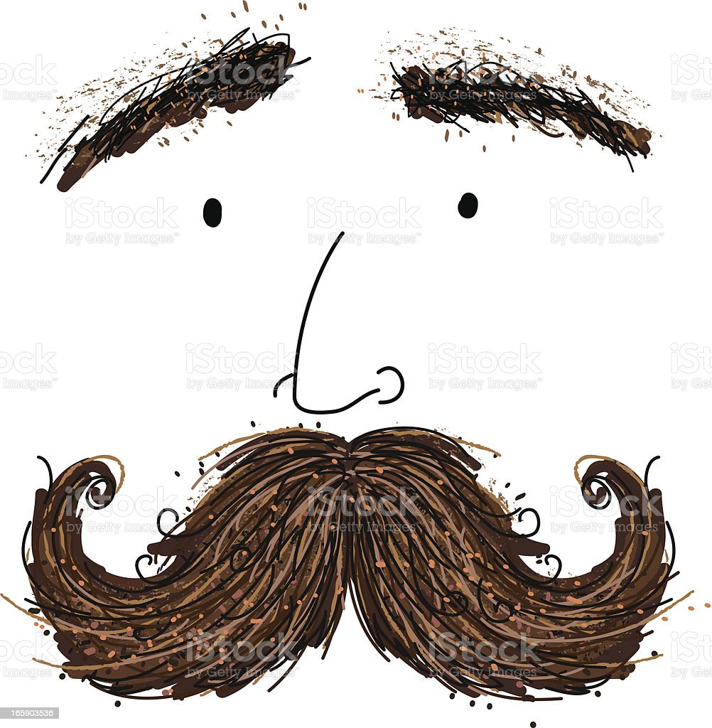 Silly Cartoon Man With Large Mustache vector art illustration